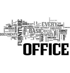 Basic office furniture text word cloud concept vector