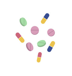 Pills and capsules flat set isolated vector