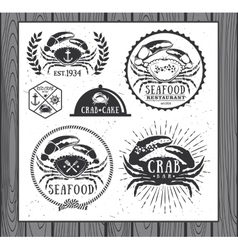Set of vintage seafood labels badges and design vector