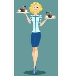 Beautiful girl waitress vector