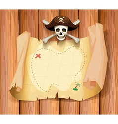 Pirate skull and a map on the wall vector