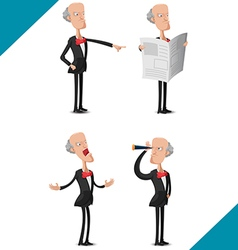 Old man worker character set vector