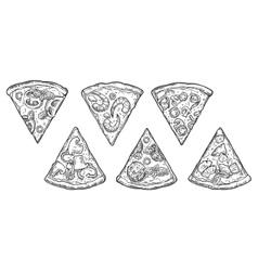 Set slice pizza Pepperoni Hawaiian Margherita vector image