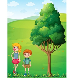 A tall girl with her brother at the hilltop vector image vector image