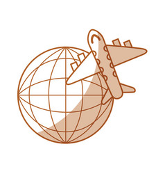 airplane flying around the world vector image