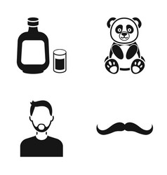 Alcohol panda and other web icon in black style vector