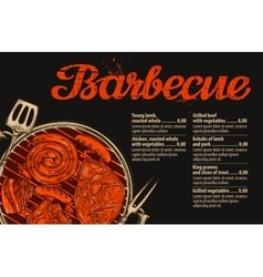 Barbecue grill template of menu design vector