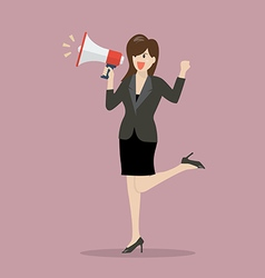 Business woman with a megaphone vector image vector image