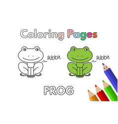 Cartoon frog coloring book vector