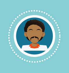 Character black man mustache social media blue vector