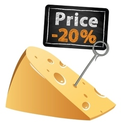 Cheese with a price tag sale at a low price at vector