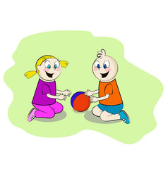 Children playing in the sandbox vector