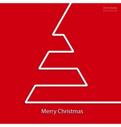 christmas card design with white line tree vector image vector image