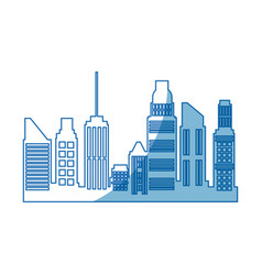 City skyscrapers building town urban architecture vector