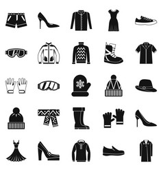 Clothing sale icons set simple style vector