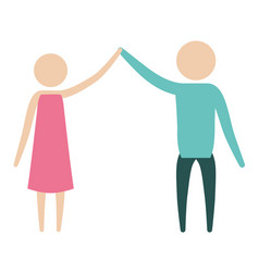 Color silhouette pictogram couple clashing hands vector