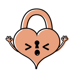 Color sleeping heart padlock kawaii personage vector