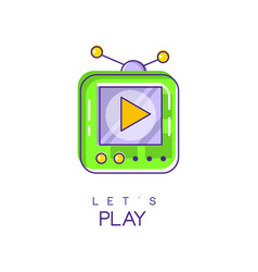Electronic gadget logo game console icon in vector