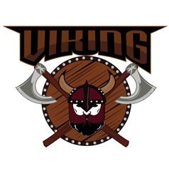 Emblem viking warrior skull logo vector