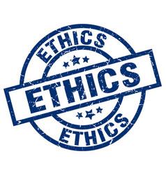 Ethics blue round grunge stamp vector