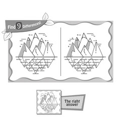 find 9 differences game iceberg vector image vector image