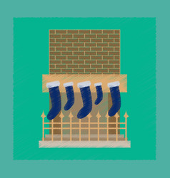 Flat shading style icon fireplace christmas socks vector