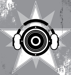 Grunge music star design vector