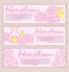 Hand drawn banner with rose and oil burner vector