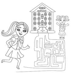 happy girls go to school - maze vector image