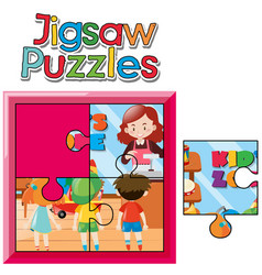 jigsaw puzzle game with kids in shop vector image