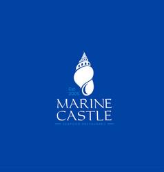 Marine castle shell logo seafood emblem vector