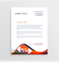 Modern letterhead design template with red and vector