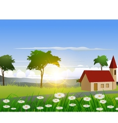 Nature background with house and sunlight effect vector