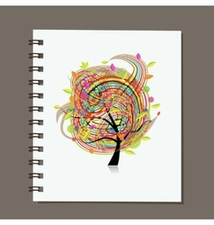 Notebook abstract colorful tree design vector image