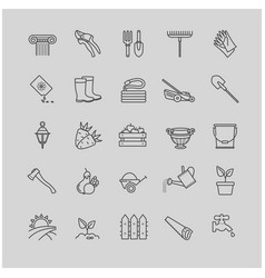 outline icons set - gardening tools flowers vector image vector image