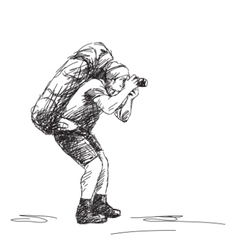photographer backpacker vector image vector image