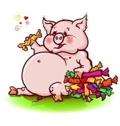 Pig eats a lot of sweets vector