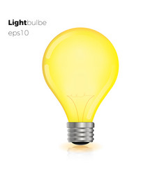 realistic creative light bulb yellow vector image vector image