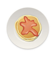 realistic pancake with boiled or jam on a white vector image vector image