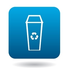 Recycle bin icon in simple style vector image vector image