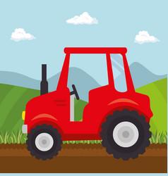 Red tractor design vector