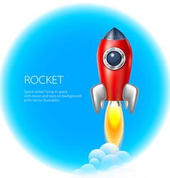 Rocket icon space fire symbol flame cartoon vector image