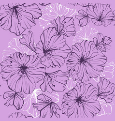 Seamless pattern dark flowers in one paint on a vector