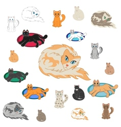 Set Of 20 Cartoon Cats vector image vector image