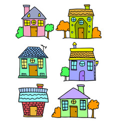 Set of house colorful hand draw vector