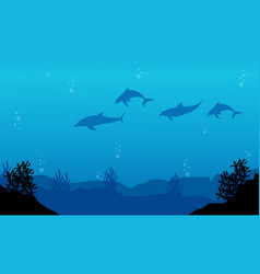 Silhouette of dolphin on blue sea landscape vector