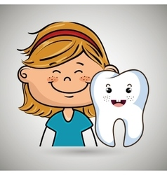 smilling blonde girl with a smiling tooth on her vector image