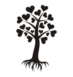 Tree with hearts and roots vector image vector image