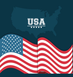 Usa flag waving map country stamp design vector
