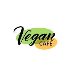 Vegan cafe brush lettering logo template vector